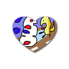 Abstract Comic Rubber Coaster (heart)  by Valentinaart