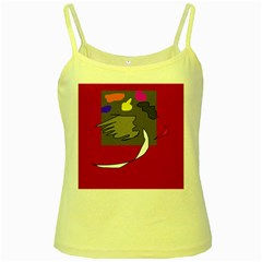 Red Abstraction By Moma Yellow Spaghetti Tank by Valentinaart