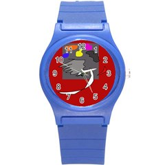Red Abstraction By Moma Round Plastic Sport Watch (s) by Valentinaart