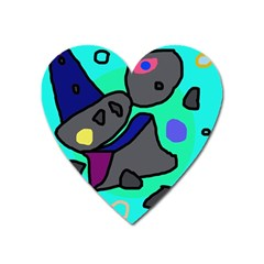Blue Comic Abstract Heart Magnet by Valentinaart