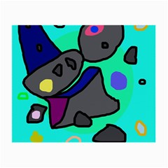 Blue Comic Abstract Small Glasses Cloth by Valentinaart