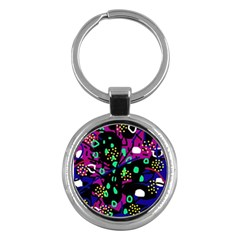 Abstract Colorful Chaos Key Chains (round)  by Valentinaart