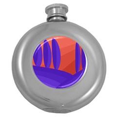 Purple and orange landscape Round Hip Flask (5 oz) by Valentinaart