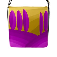 Yellow And Magenta Landscape Flap Messenger Bag (l)  by Valentinaart
