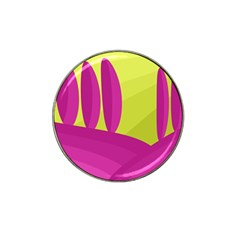 Yellow And Pink Landscape Hat Clip Ball Marker (4 Pack) by Valentinaart