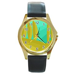 Green And Yellow Landscape Round Gold Metal Watch by Valentinaart