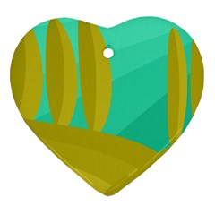 Green and yellow landscape Heart Ornament (2 Sides) by Valentinaart