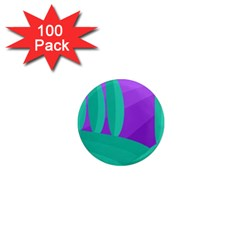 Purple and green landscape 1  Mini Magnets (100 pack)  by Valentinaart