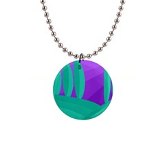Purple And Green Landscape Button Necklaces by Valentinaart