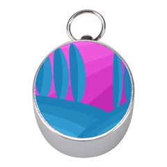 Pink And Blue Landscape Mini Silver Compasses by Valentinaart