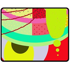 Colorful Abstraction By Moma Double Sided Fleece Blanket (medium)  by Valentinaart
