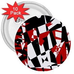 Red, Black And White Chaos 3  Buttons (10 Pack)  by Valentinaart