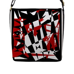 Red, Black And White Chaos Flap Messenger Bag (l)  by Valentinaart