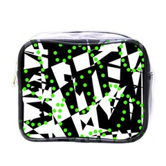 Black, White And Green Chaos Mini Toiletries Bags by Valentinaart
