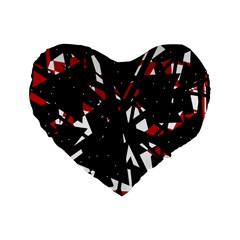 Black, Red And White Chaos Standard 16  Premium Heart Shape Cushions by Valentinaart