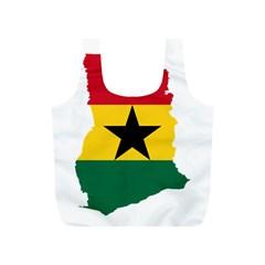 Flag Map of Ghana Full Print Recycle Bags (S)