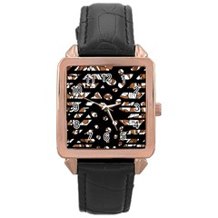Brown Freedom  Rose Gold Leather Watch  by Valentinaart