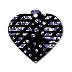Purple Freedom Dog Tag Heart (two Sides) by Valentinaart