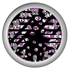 Magenta Freedom Wall Clocks (silver)  by Valentinaart