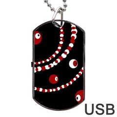 Red pearls Dog Tag USB Flash (Two Sides)  by Valentinaart