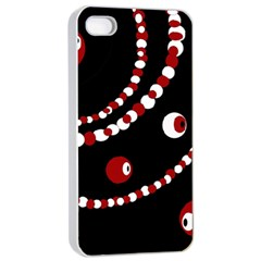 Red Pearls Apple Iphone 4/4s Seamless Case (white) by Valentinaart