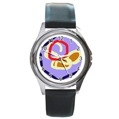 Abstract Circle Round Metal Watch by Valentinaart