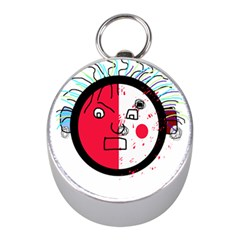 Angry transparent face Mini Silver Compasses by Valentinaart