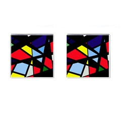 Colorful geomeric desing Cufflinks (Square) by Valentinaart