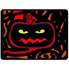 Halloween Pumpkin Fleece Blanket (large)  by Valentinaart