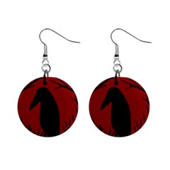 Halloween Raven   Red Mini Button Earrings by Valentinaart