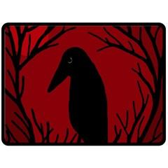Halloween Raven   Red Fleece Blanket (large)  by Valentinaart