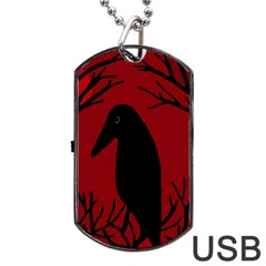 Halloween Raven   Red Dog Tag Usb Flash (two Sides)  by Valentinaart