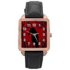 Halloween Raven   Red Rose Gold Leather Watch  by Valentinaart