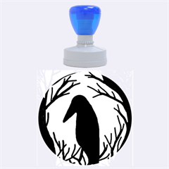 Halloween Raven   Blue Rubber Round Stamps (large) by Valentinaart