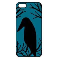 Halloween Raven   Blue Apple Iphone 5 Seamless Case (black) by Valentinaart