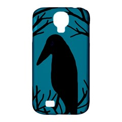 Halloween Raven   Blue Samsung Galaxy S4 Classic Hardshell Case (pc+silicone) by Valentinaart