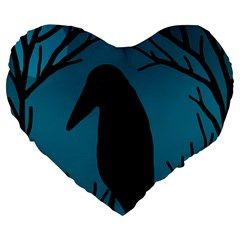 Halloween raven - Blue Large 19  Premium Flano Heart Shape Cushions by Valentinaart