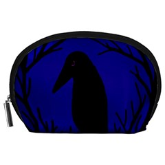 Halloween Raven   Deep Blue Accessory Pouches (large)  by Valentinaart