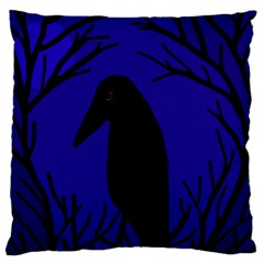 Halloween raven - deep blue Large Flano Cushion Case (One Side) by Valentinaart