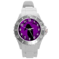 Halloween Raven   Purple Round Plastic Sport Watch (l) by Valentinaart