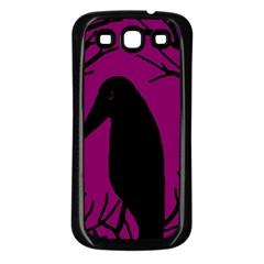 Halloween Raven   Magenta Samsung Galaxy S3 Back Case (black) by Valentinaart