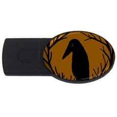 Halloween Raven   Brown Usb Flash Drive Oval (2 Gb)  by Valentinaart