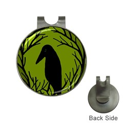 Halloween Raven   Green Hat Clips With Golf Markers by Valentinaart