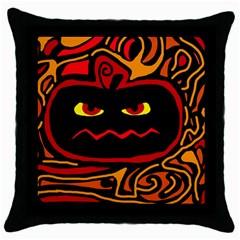 Halloween Decorative Pumpkin Throw Pillow Case (black) by Valentinaart