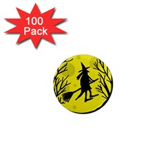 Halloween Witch   Yellow Moon 1  Mini Magnets (100 Pack)  by Valentinaart
