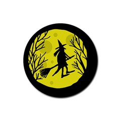 Halloween Witch   Yellow Moon Rubber Coaster (round)  by Valentinaart
