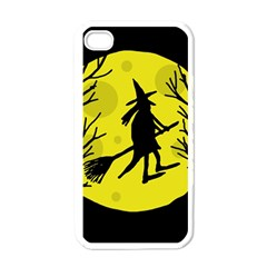 Halloween Witch   Yellow Moon Apple Iphone 4 Case (white) by Valentinaart