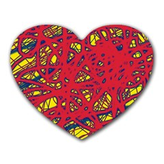 Yellow and red neon design Heart Mousepads by Valentinaart