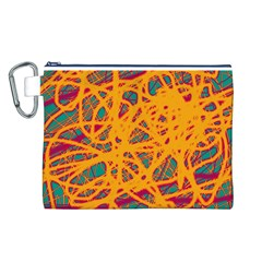 Orange Neon Chaos Canvas Cosmetic Bag (l) by Valentinaart