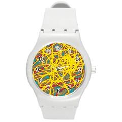 Yellow Neon Round Plastic Sport Watch (m) by Valentinaart